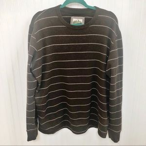 Eddie Bauer Brown Striped Thermal Sweater L Tall